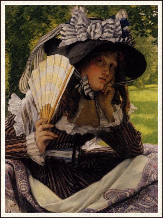 bs-ahp- James Jacques Joseph Tissot- Jeune Femmea Leventail. Jacques Joseph Tissot