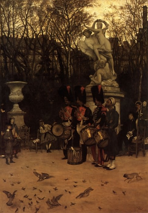 Beating the Retreat in the Tuileries Gardens. Jacques Joseph Tissot