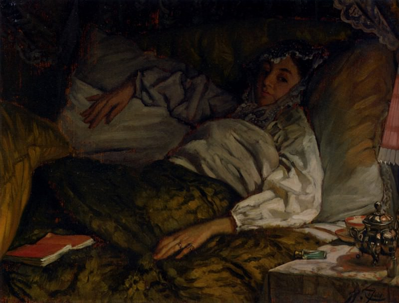 Tissot James Jacques Joseph A Reclining Lady. Jacques Joseph Tissot