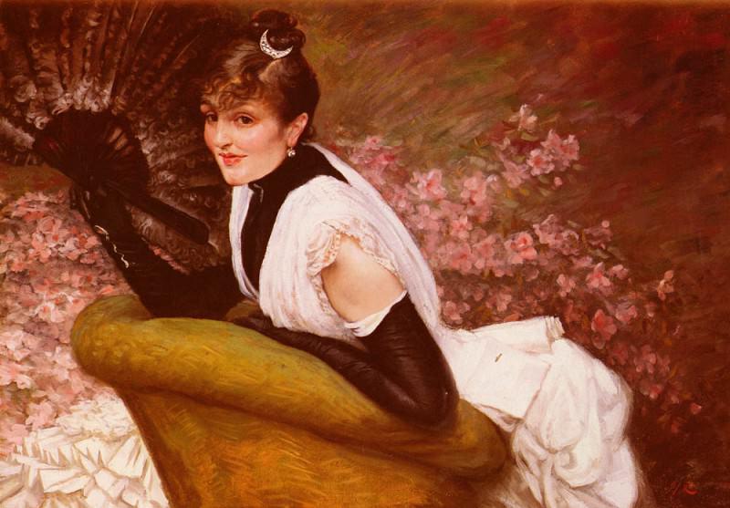 Tissot James Jaques Joseph Portrait De Femme A L-Eventail. Jacques Joseph Tissot