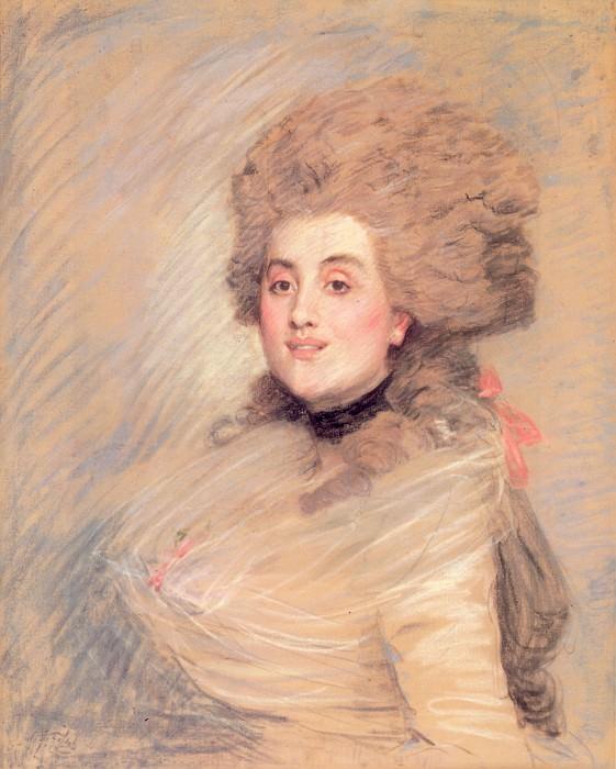 Tissot Portrait of an Actress in 18thC Dress. Jacques Joseph Tissot