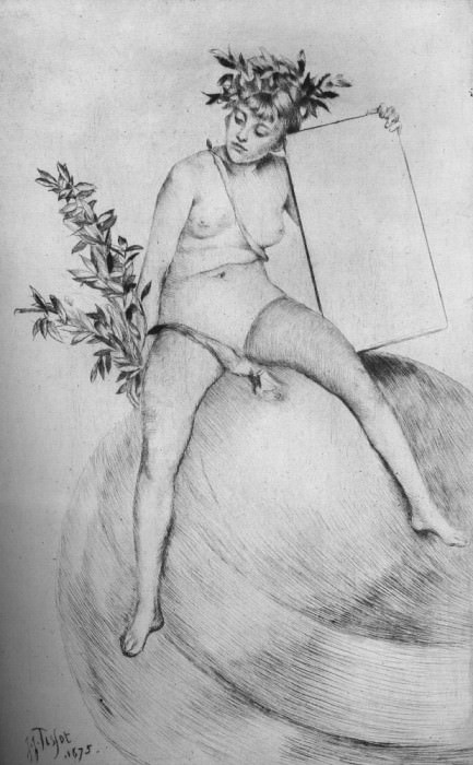 Tissot Deuxieme frontispiece Assise sur le globe. Jacques Joseph Tissot