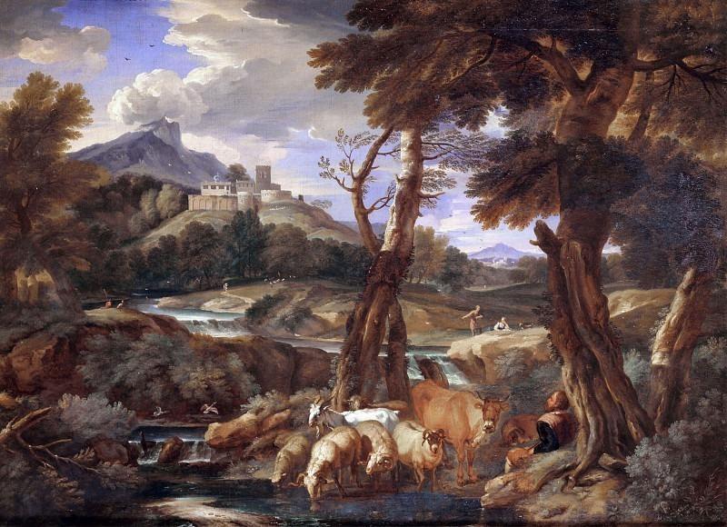 Речной пейзаж со стадом. Кавальер (Питер Мюлье иль Джоване) Темпеста