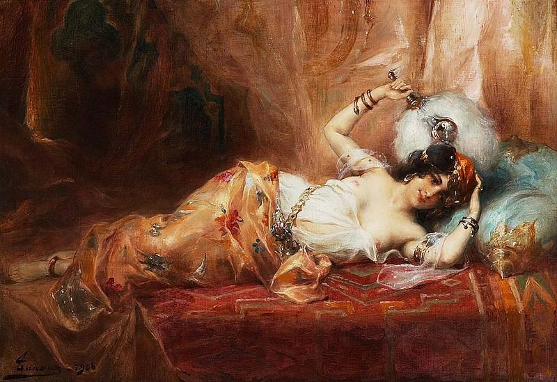 Odalisque a leventail. Henri Adriene Tanoux