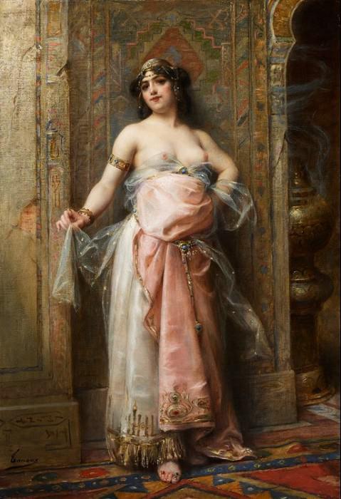 Jeune Orientale au brule parfums. Henri Adriene Tanoux