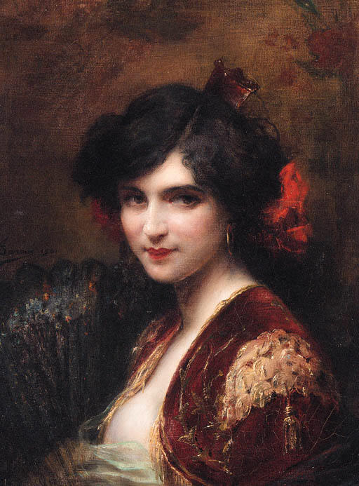 Portrait of a Spanish Lady bust length wearing a red jacket with gold brocade holding a fan. Henri Adriene Tanoux