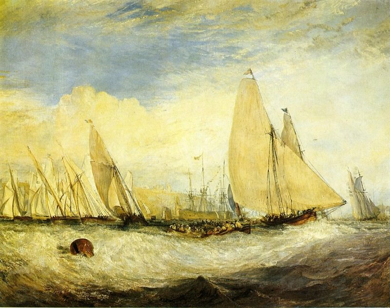 Turner Joseph Mallord William East Cowes Castle the seat of J. Nash Esq. the Regatta beating to windward. Joseph Mallord William Turner