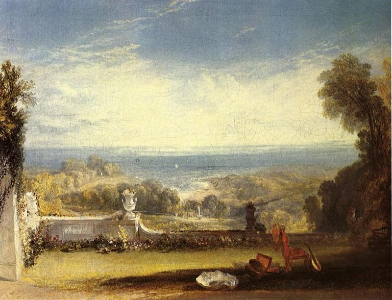 Turner Joseph Mallord William View from the Terrace of a Villa at Niton Isle of Wight from sketches by a lady. Joseph Mallord William Turner