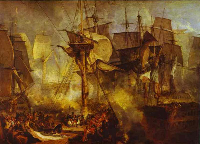 William Turner - The Battle of Trafalgar, as Seen from the Mizen Starboard Shrouds of the Victory. Джозеф Уильям Мэллорд Тёрнер