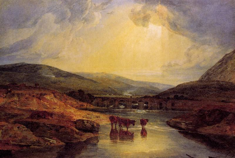 Turner Joseph Mallord William Abergavenny Bridge Monmountshire clearing up after a showery day. Joseph Mallord William Turner