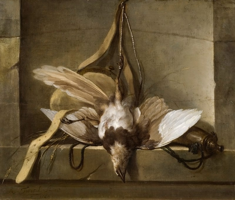 Still Life with a Dead Bird and Hunting Gear. Guillaume Taraval