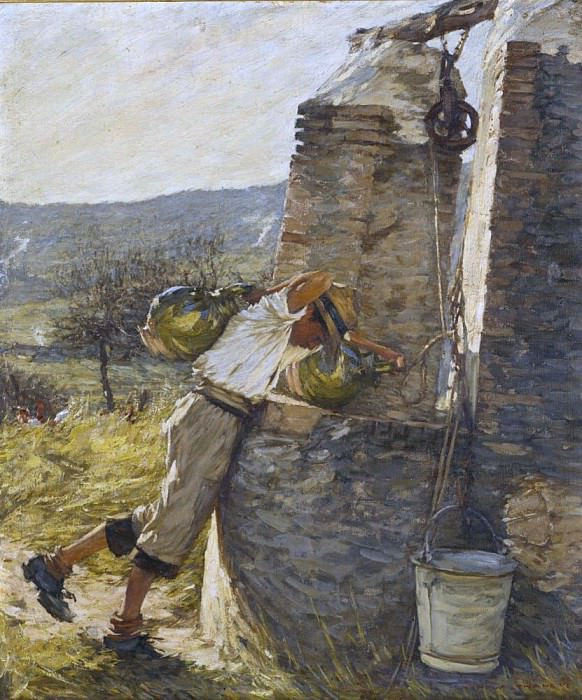 Boy Filling Water Jars at Well. Henry Herbert La Thangue