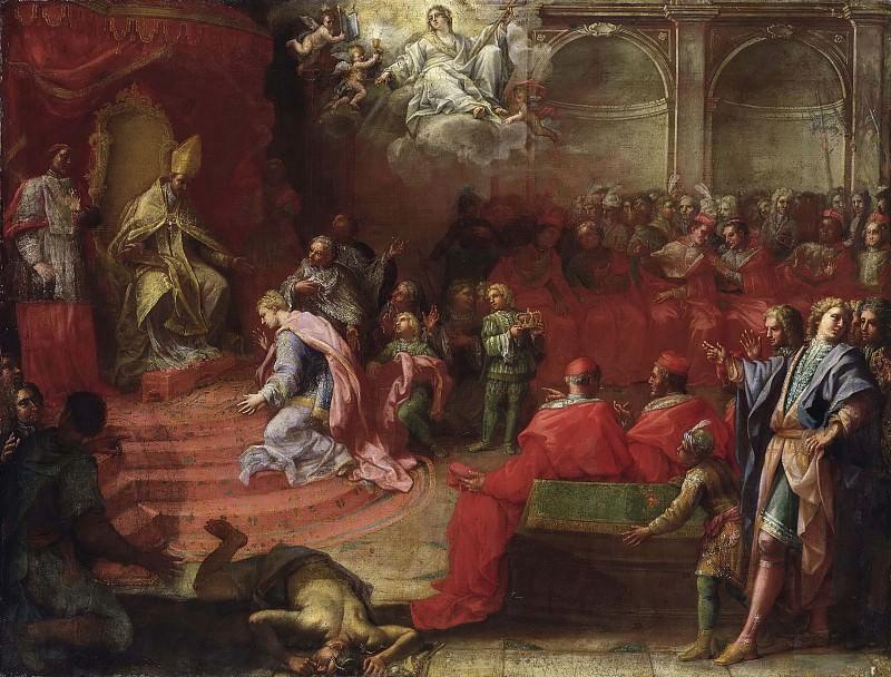 Аллегория покорности королевы Кристины Католической Церкви и Папе Александру VII. Анджело Тревизани (Приписывается)