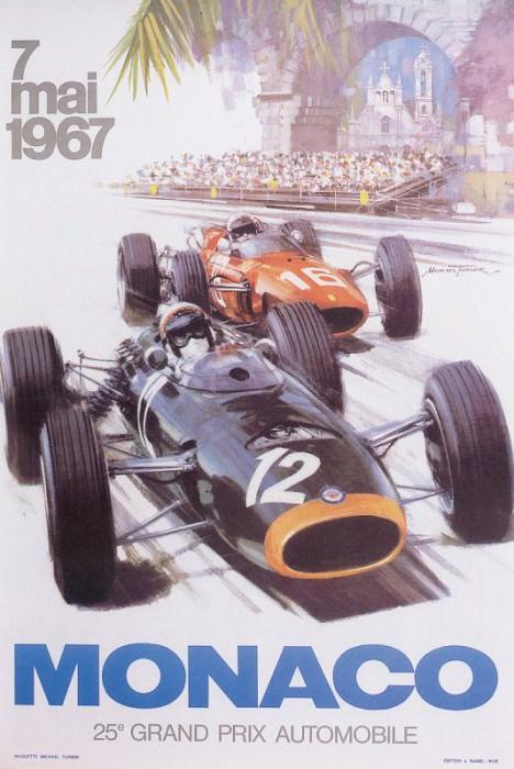 Cmamtmon 061 poster monaco gp 1967. Майкл Тернер