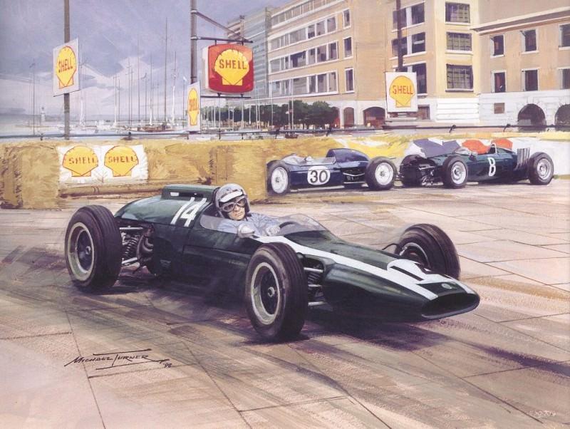 -Куперы-, одержавшие последнюю победу в Монако в 1962 г.. Майкл Тернер