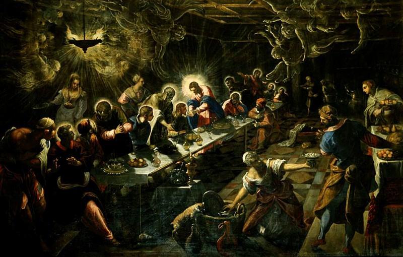 Tintoretto Lultima cena, 1592-94, 360x560 cm, San Giorgio M. Tintoretto (Jacopo Robusti)