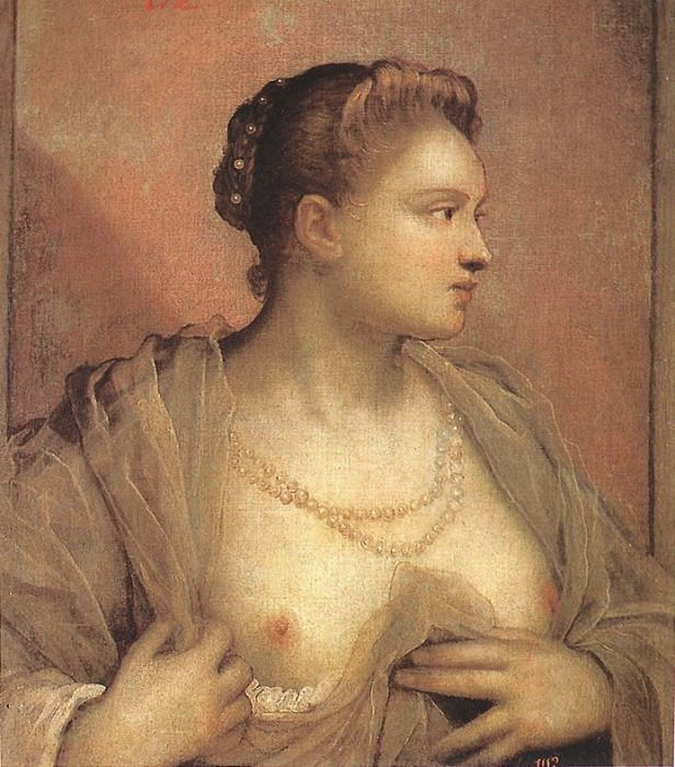 Portrait of a Woman Revealing her Breasts. Tintoretto (Jacopo Robusti)