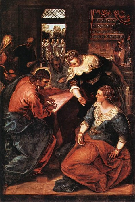 Christ in the House of Martha and Mary WGA. Tintoretto (Jacopo Robusti)