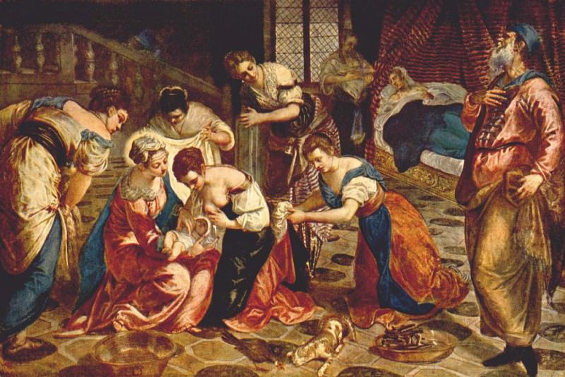 The Birth of St. John the Baptist WGA. Тинторетто (Якопо Робусти)
