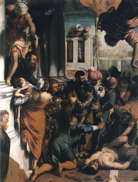 TINTORETTO MIRACOLO DI SAN MARCO,DETALJ, VENEDIG. Tintoretto (Jacopo Robusti)