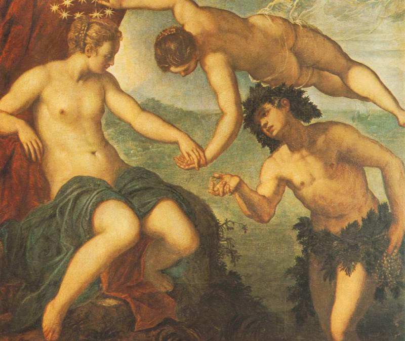 Tintoretto Ariadne, venus and Bacchus, 1576, 146x157 cm, Sal. Tintoretto (Jacopo Robusti)