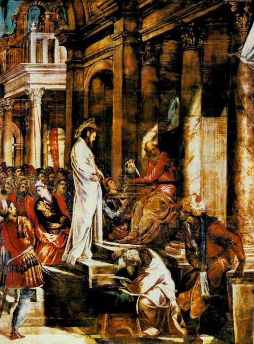 TINTORETTO CHRIST BEFORE PILATE, SALA DELLALBERGO, SCUOLA D. Tintoretto (Jacopo Robusti)