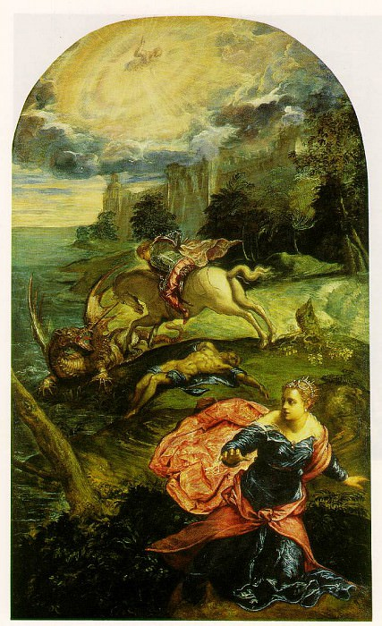 Tintoretto St George and the dragon, ca 1555-58, 157.5 x 100. Tintoretto (Jacopo Robusti)