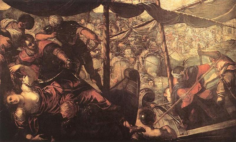 Battle between Turks and Christians WGA. Tintoretto (Jacopo Robusti)