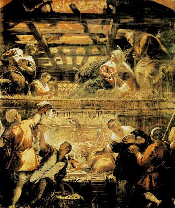Tintoretto The Adoration of the Shepherds, 1579-81, 542x455. Tintoretto (Jacopo Robusti)