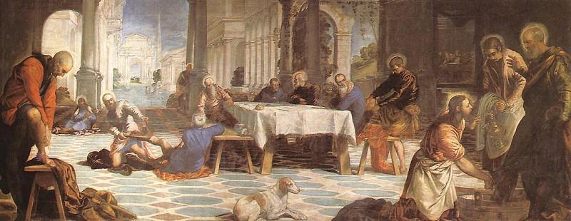 Christ Washing the Feet of His Disciples WGA. Tintoretto (Jacopo Robusti)