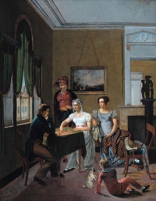 Family picture in the room, playing chess. Gustav Taubert