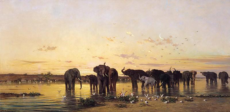 Африканские слоны. Шарль Эмиль де Турнемин