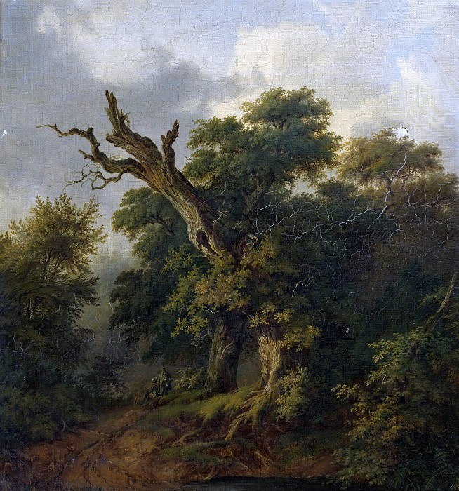Eichwald. Two hunters on a forest path. Carl Friedrich Trautmann