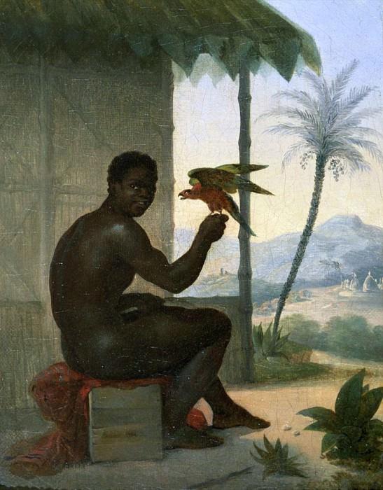Brazilian negro with Tropical Bird. Nicolas Antoine Taunay