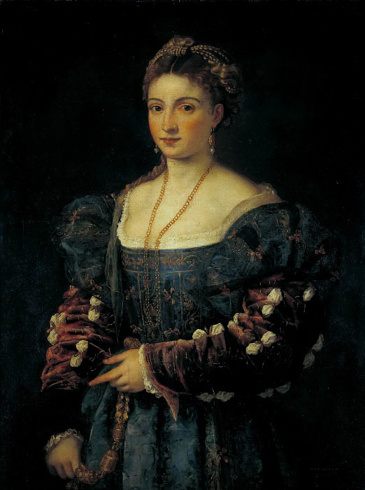 Lady in a Blue Dress. Titian (Tiziano Vecellio)