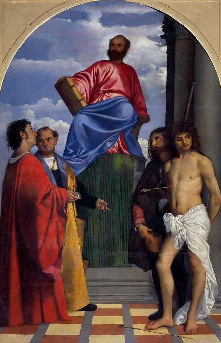Saint Mark Enthroned with other Saints. Titian (Tiziano Vecellio)