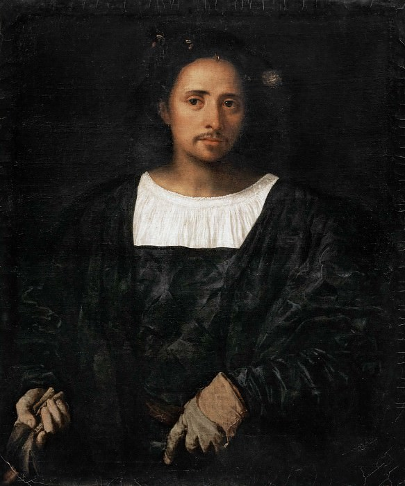 Man with glove. Titian (Tiziano Vecellio)