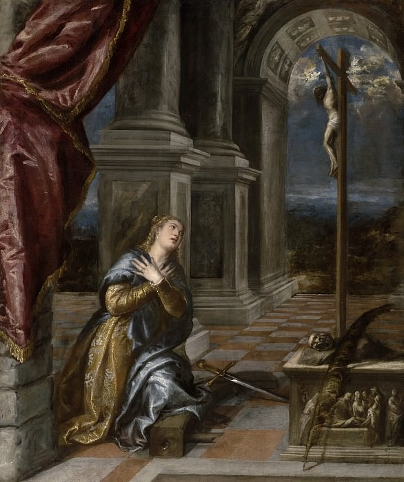 Saint Catherine of Alexandria at Prayer. Titian (Tiziano Vecellio)