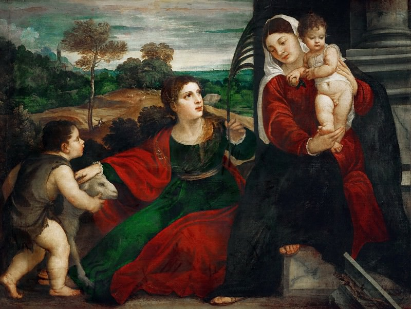 Madonna and child with Saint Agnes and Saint John Baptist. Titian (Tiziano Vecellio)
