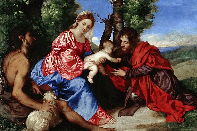 The Virgin and Child with St John the Baptist and an Unidentified Saint. Titian (Tiziano Vecellio)