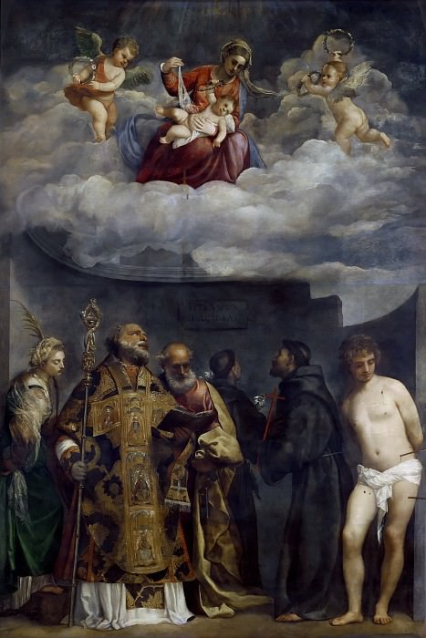Madonna and Child in Glory with Saints Catherine, Nicholas, Peter, Sebastian, Francis, and Antony of Padua. Titian (Tiziano Vecellio)