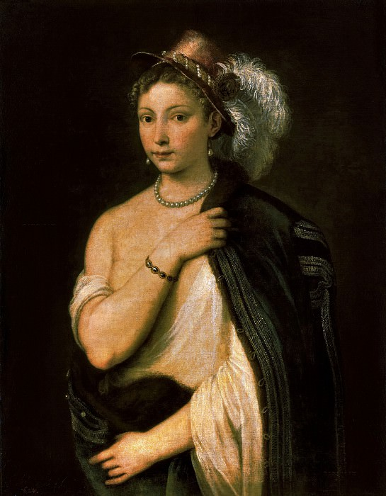 Portrait of young woman. Titian (Tiziano Vecellio)