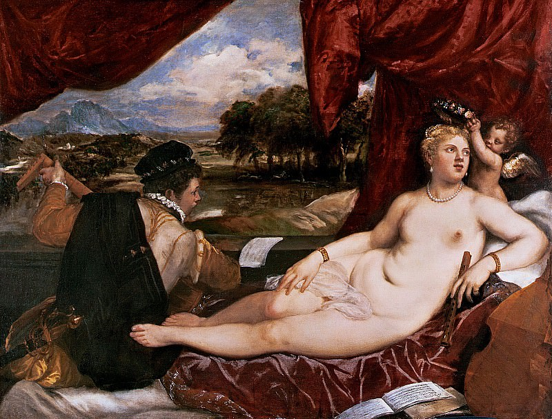 Venus and Cupid with a Lute Player. Titian (Tiziano Vecellio)