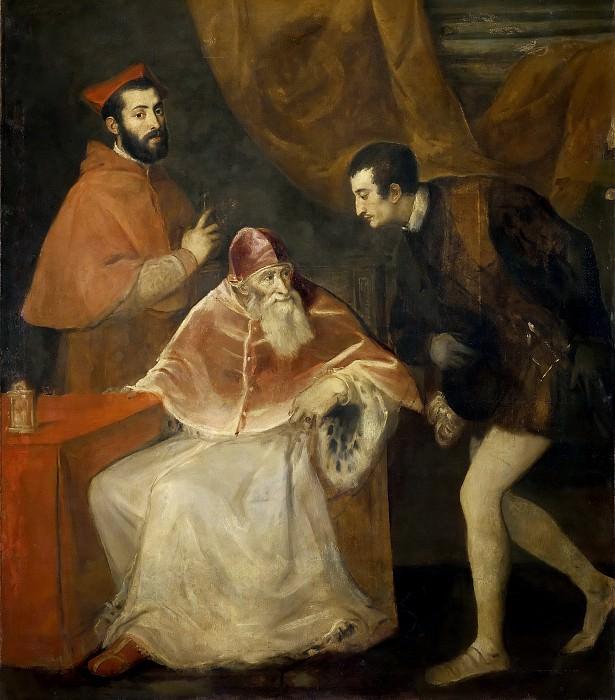 PopePaul III with the Nephews. Titian (Tiziano Vecellio)
