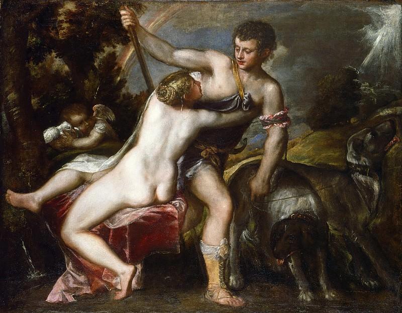 Venus and Adonis. Titian (Tiziano Vecellio)