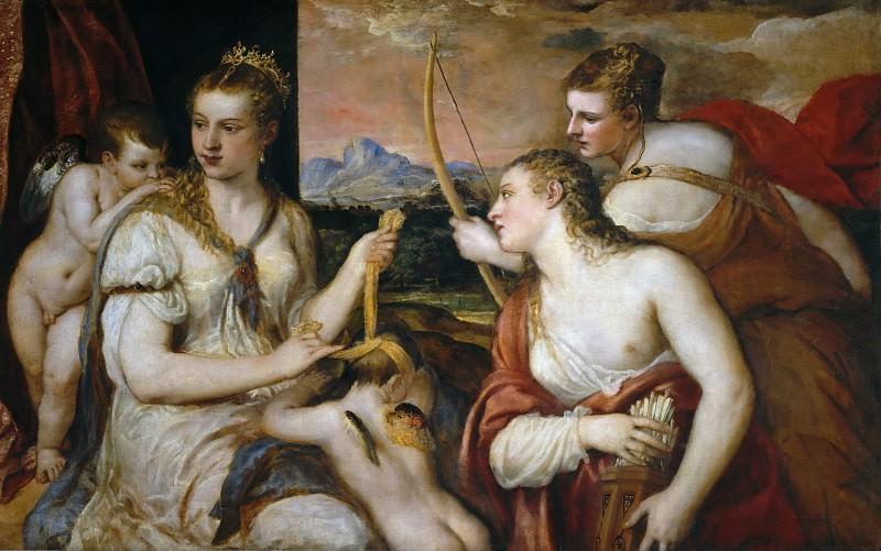Венера, завязывающая глаза Амуру. Тициан (Тициано Вечеллио)