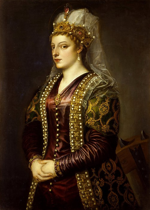 Caterina Cornaro as Saint Catherine of Alexandria. Titian (Tiziano Vecellio)