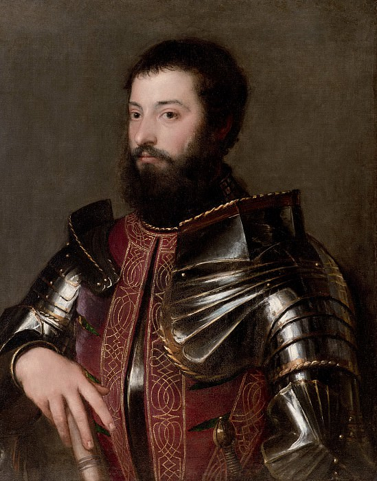 Portrait of a man in armor. Titian (Tiziano Vecellio)
