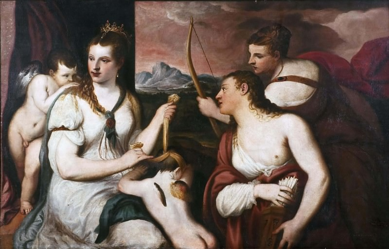 Venus ties ties to Amor's eyes. Titian (Tiziano Vecellio) (After)
