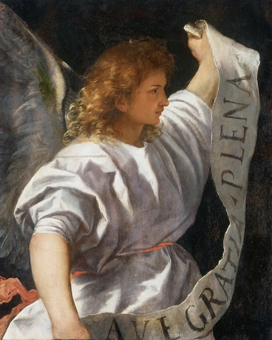 Averoldi Polyptych, detail - The Angel of the Annunciation. Titian (Tiziano Vecellio)